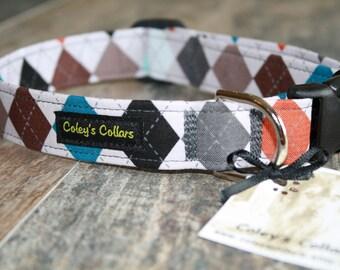 "Argyle Dog Collar, Preppy Dog Collars, Boy Dog Collar, Male Dog Collar, Girl Dog Collar, Custom Dog Collar,  ""The Preppy Puppy Argyle"""