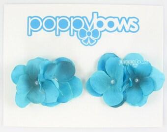 Flower hair clips, Summer hair clips, aqua hair clips, blue girls hair clips, silk flowers, baby hair clips, pigtail bows, pearls, cute