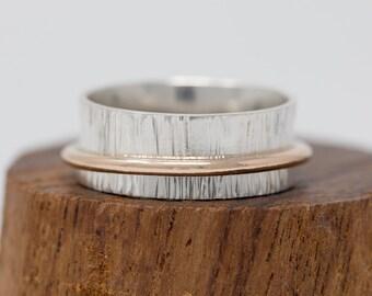 Sterling Silver & 14K Gold Filled Spinner Ring Silver Spinner Ring Textured Spinner Ring Anxiety Ring Fidget Ring Meditation Ring Worry Ring