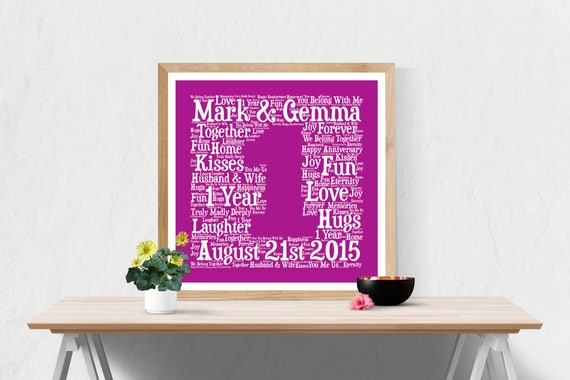 Personalised 1st Wedding Anniversary Gifts: PERSONALIZED 1ST ANNIVERSARY Gift Word Art Printable Art