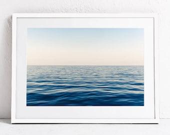 Ocean Print, Sea Horizon Print, Ocean Waves Printable Art Print, Ocean Photography, DIGITAL DOWNLOAD Print, Blue Sea Print Art, Nautical Art