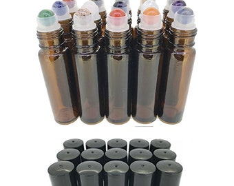 15pc Gemstone Set in AMBER Glass LUXURY 10ml Roll On Bottles Chakras, Essential Oil Blends Amethyst, Sodalite, Lapis Lazuli, Aventurine Jade