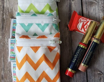 Wetbag Minis Set of 3 ~ Travel Size Mini Zippered Chevron WetBag ~ Binky Bag ~ Cosmetic Purse Bag