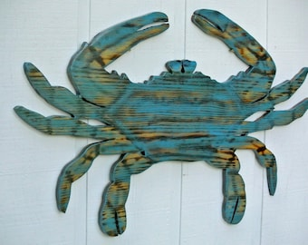 Large Crab Wood, Wedding gift idea. Beach House Decor, Wooden Crab wall Art, Beach House wall sign Housewarming Gift idea