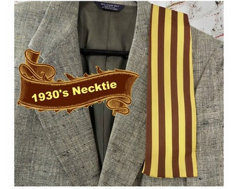 Brown Gold tie - Retro man tie - 1930's tie -1940's tie - Rock A Billy tie - gift for him -brown strip tie - vintage men's tie -# T 88