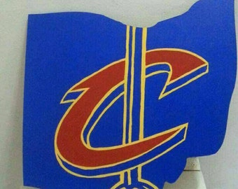 Cleveland Cavaliers logo wooden sign Ohio