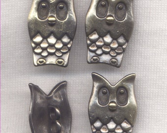 Owl Shank Buttons Bronze color Sturdy Metal Buttons 24mm (1 inch) Set of 8/BT64B