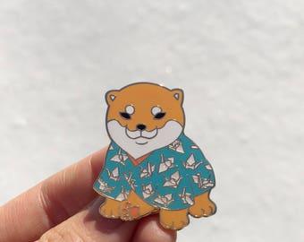 Blue Kimono shiba puppy_puppy_shiba inu_kawaii_kimono_shiba_dog_dog lover_japanese_japan_origami_dog enamel pin_fashion_enamel pin_lapel pin
