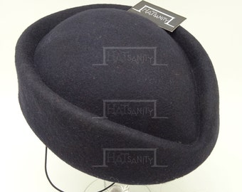VINTAGE x ELEGANT Wool Felt Pillbox Hat -  Navy Blue