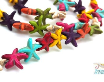 8 pearls Starfish howlite multicolored gem was (PH190) 14mm