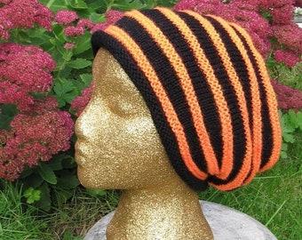 HALF PRICE SALE Instant Digital File pdf download knitting pattern -Madmonkeyknits Stripey Dk Slouch Hat pdf download knitting pattern