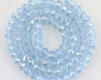 100 Pcs,6mm Sparkle Lignt Blue Crystal Beads,Lignt Blue Faceted Crystal Beads,1 Strand,Crystal Beads,Gemstone Beads,Jewelry Supplies--BR032