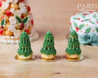Christmas Tree Religieuse Pastry (Green), Sapin de Noël - Miniature Food