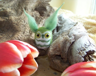 Needle Felted Green Smaller Great Horned Caffeinated Owl
