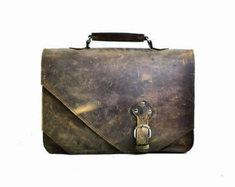 Leather Briefcase for Men, Messenger Bag Distressed Leather Men's Carryall Briefcase Travel Adventure Satchel, Anniversary Gift for Men