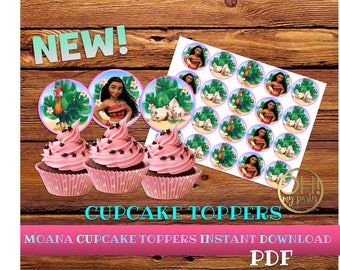 Moana Cupcake Toppers, cupcake topper moana, moana printable, moana birthday, moana party, moana instant download,moana party supplies,moana