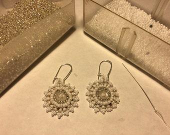 White, Pearl Seed Bead Earrings