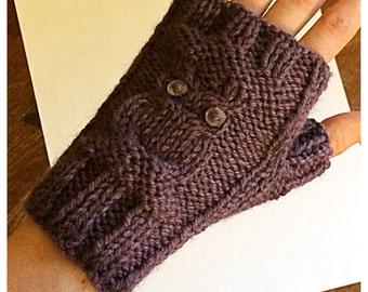 Wrist Warmers, Fingerless Gloves, Knit Owl Wrist Warmers, Knit Owl Fingerless Gloves, Purple Owl Wrist Warmers, Purple Owl Fingerless Gloves