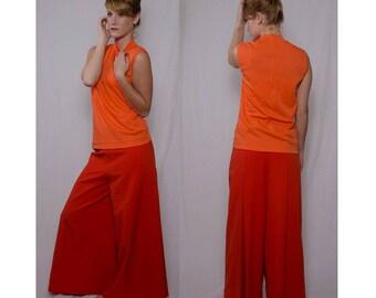 Saks BELL BOTTOMS Fifth Avenue Vintage 1970s-1980s Women Orange Studio 54 Disco PANTS Size M