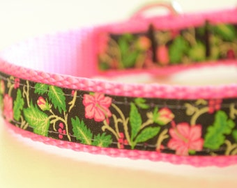 Hibiscus Flowers Adjustable Dog Collar Tropical Dog Collar