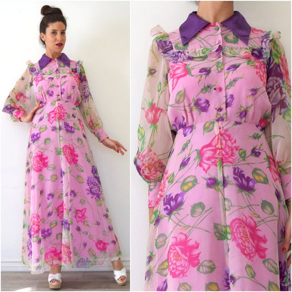Vintage 70s does 30s Pink and Purple Floral Collared Maxi Dress with Sheer Poet Sleeves (size xs, small)