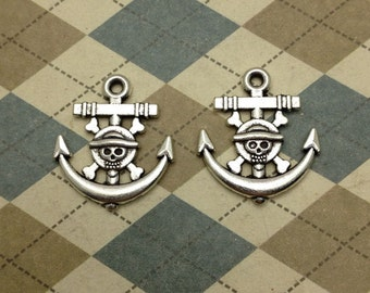 20pcs Antique Silver Alloy One Piece Anchor Charms Crossbones Skull Heads Bone Pirate Anchor 19mmx22mm