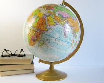 12 Inch World Globe with Metal Base - Vintage Globemaster Globe - Made in USA - Blue Home Decor - World Map - Wanderlust Travel Office Decor