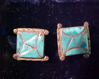 Vintage Inlade Turquoise  Cuff Links  Sterling Silver  Unmarked