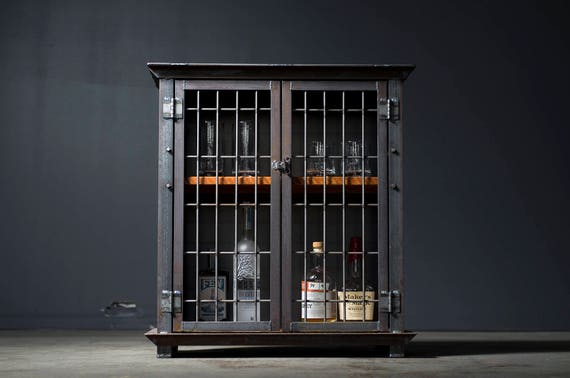 Amazing Liquor Cabinet Bar Cart Industrial Caged