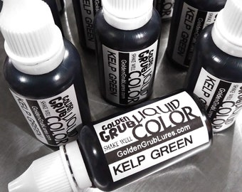 1 OZ. KELP GREEN Liquid Color for Making Plastic Fishing Lures, Soft Bait