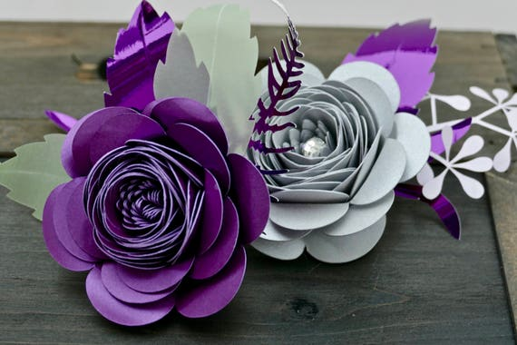 Set of 2 Pearlescent Card Rose Buttonholes or Corsages