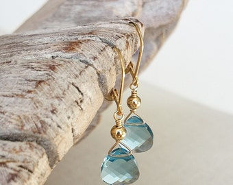 Aquamarine Crystal Earrings in Gold or Silver