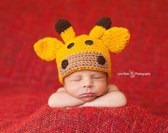 Crochet Giraffe Hat - Newborn