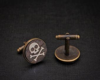 Skull Cufflinks - rosewood hand inlaid with bone