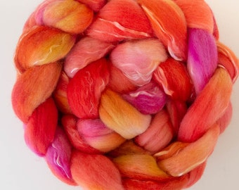 Extra Fine Merino, Tencel, hand dyed roving, hand dyed tops, fiber, combed top,  roving, fibre, spinning fibre, felting materials,