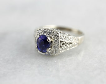 Modern Sapphire and Diamond Halo Anniversary Ring, Contemporary Yet Timeless DK2N6D-D