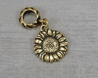 Sunflower European Dangle Bead Charm - Gold Sunflower Charm for European Bracelet