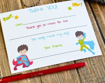 Kids Fill In the Blank Super Hero Thank You Notes / Kids Thank You Notes / Childrens Superhero Thank You Note Cards / Fill In The Blank Card