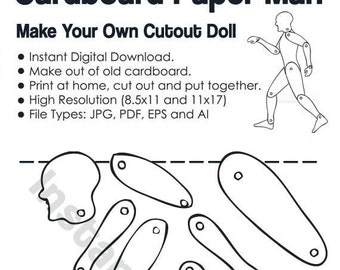 Paper Craft Cutout Man Template - Cut on paper or cardboard - Paper doll DIY project - INSTANT DOWNLOAD (09854)