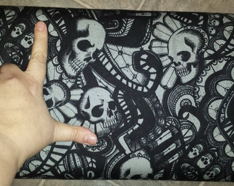 The Catacombs Alexander Henry Cotton Fabric Skullduggery Charcoal Black 1 yard