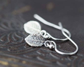 Tiny Leaf Earrings, Sterling Silver Earrings, Outdoors Gift, Handmade Jewelry by Burnish, Silver Dangle Earrings, Gift for Women, By Burnish