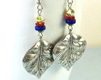Silver Leaf Earrings - Boho Earrings, Large Earrings, Leaf Jewelry, Nature Jewelry