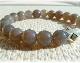 Mens semi-precious Grey Agate & cross stretch bracelet - Mens Jewelry
