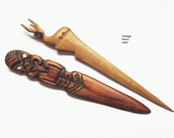 Vintage Wood Letter Openers, Carved Wooden Hand Made Letter Openers