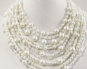 Pearl wedding statement necklace, bridal jewelry