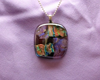 Large Dichroic Glass Pendant, Dichroic Pendant, Original Fused Glass Necklace, Iridescent Pendant, Necklace, Colorful Fused Glass