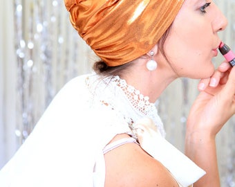 Turban Headwrap in Copper Metallic - Women's Fashion Turbans - Full Turban Hairwarp - Lots of Colors