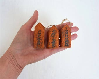Message house miniature house little ceramic house tiny house dream gift for her hanging mini house valentines gift