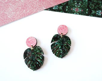 Monstera Drop Earrings - Tropical Earrings - Botanical Earrings - Leaf Earrings - Cheese Plant Earrings - Statement Earrings