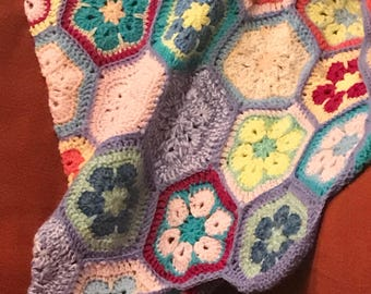 African Flowers Granny Square Blanket